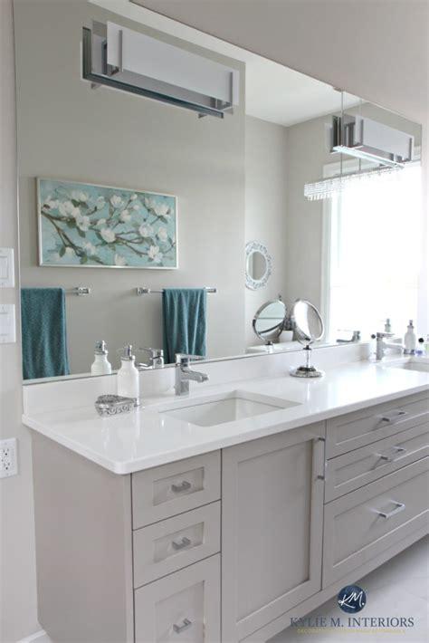 master bathroom  double vanity painted gray cambria