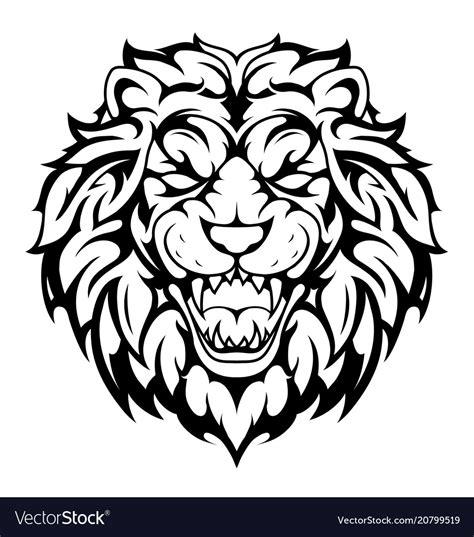 lion head tribal tattoo royalty  vector image