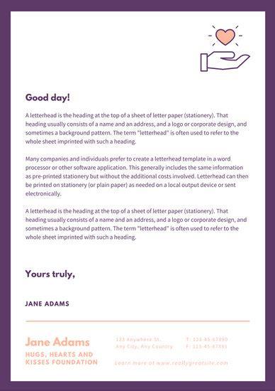dark violet bordered charity letterhead templates  canva