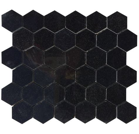 2 in x 2 in absolute black hexagon polished granite
