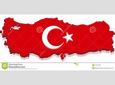 Turkey Map With Turkish Flag 3D Royalty Free Stock Photo