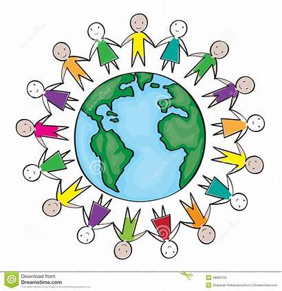 Kinder Kreis Monde Bambini Enfants Around Circle