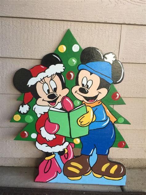 mickey  minnie wood cutout christmas yard art mickey