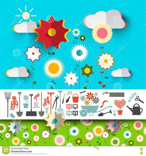 garden tools icons vector flowers design stock vector