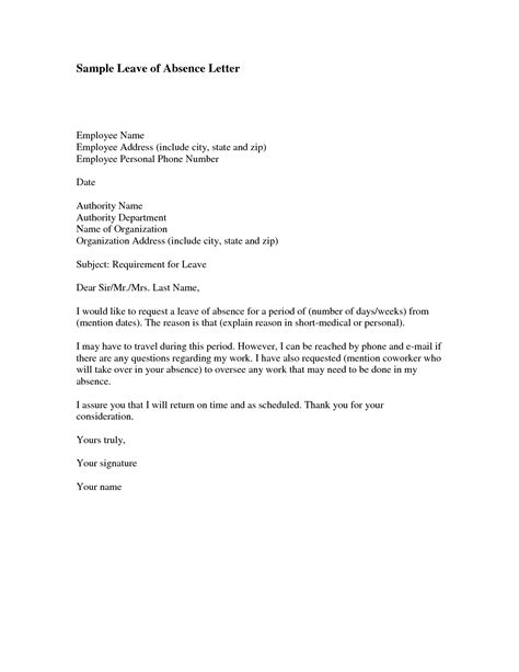 message absence bureau how to write a sick leave letter for work cover letter