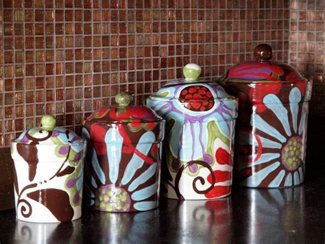 colorful kitchen canisters sets canister set of four fusion colorful pottery by