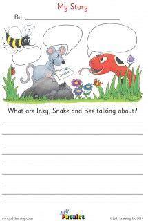 inky bee and snake story sheet jolly phonics english