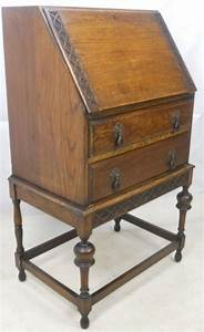 Small Carved Oak Writing Bureau 80318 Sellingantiques