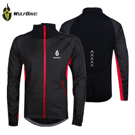 reflective waterproof cycling jacket wolfbike black winter thermal fleece windproof waterproof