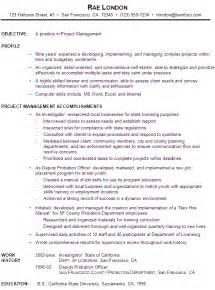 resume for project manager functional resume exle project manager