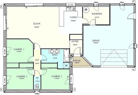 plan de maison plain pied gratuit plein 3 100m2 chambres