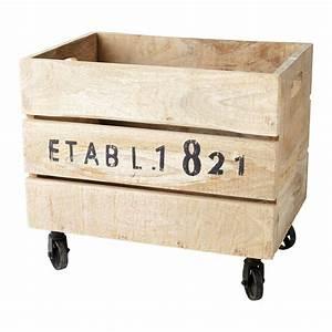 Caisse En Bois : caisse roulettes en bois 32 x 46 cm railway maisons du ~ Nature-et-papiers.com Idées de Décoration