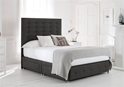 Black Fabric Bed With Double Drawers Beside Combined With