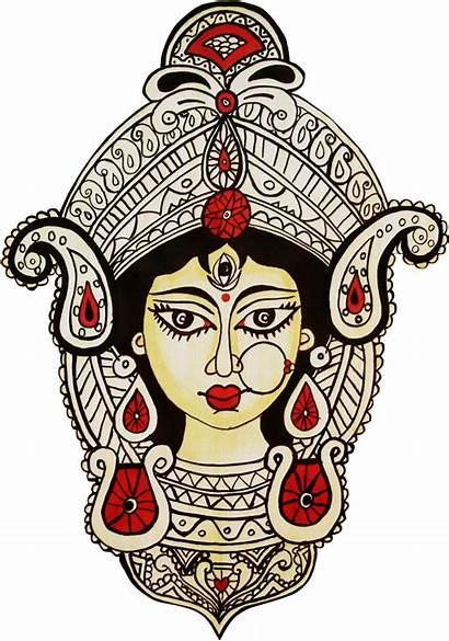 Durga Maa Face Devi Goddess Drawing Clipart