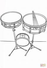 Coloring Drums Snare Musical Instruments Pages Music Printable Drawing Side Paper sketch template
