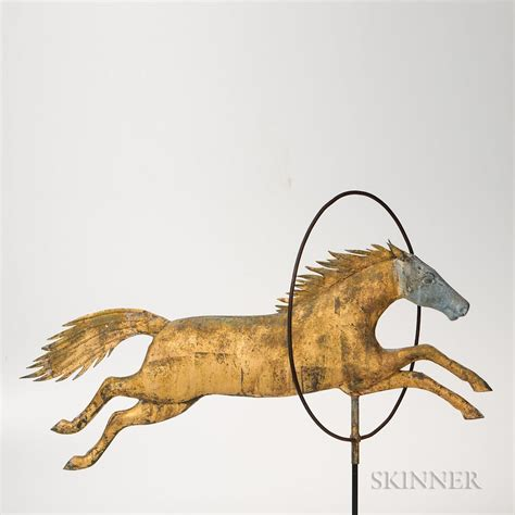 molded sheet copper  cast zinc horse jumping  hoop weathervane sold  auction