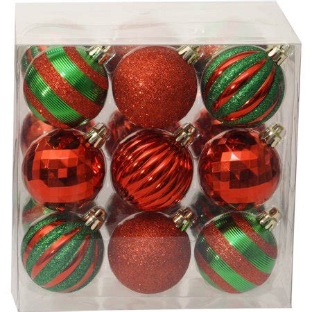 walmart ornaments pack time ornaments traditional 60mm shatterproof set of 18 green walmart