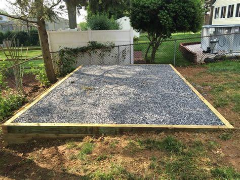 gravel shed foundation    wider