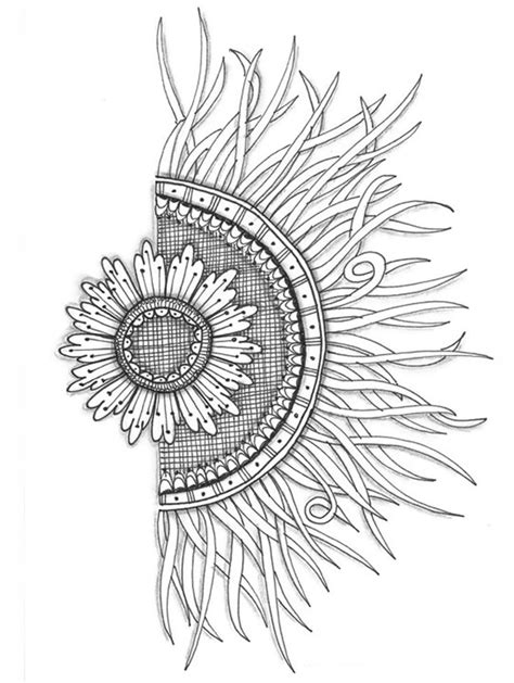 Half Flower half sun, love this for a tattoo but want it to look more realistic in 2019