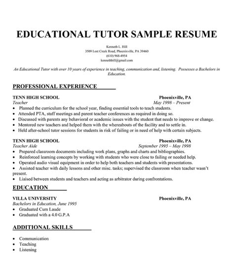 educational tutor resume sle teachers tutor