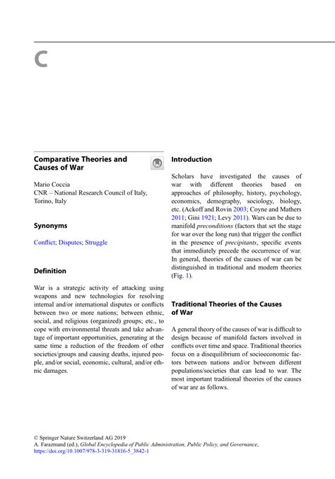(PDF) Comparative Theories and Causes of War