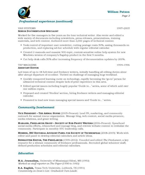 Free Resume Writer by Writer Editor Page2 Media Communications Resume
