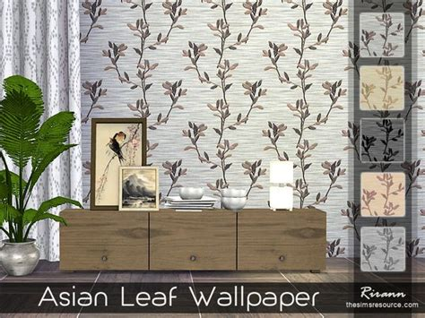 The Sims Resource Asian Leaf Wallpaper By Rirann Sims 4