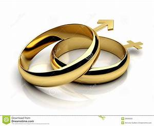 two wedding rings with male female symbols stock photo With male and female wedding rings