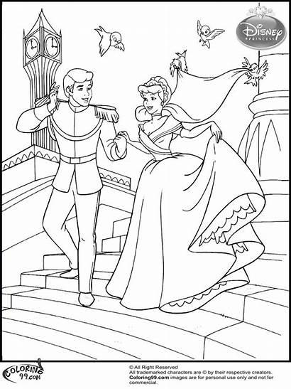Coloring Pages Cinderella Disney Princess Printable Prince