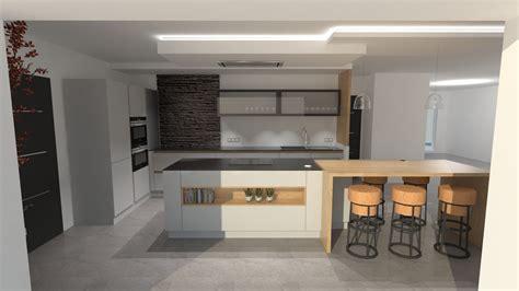 photo de cuisine design cuisine design gris clair et bois avec grand îlot et