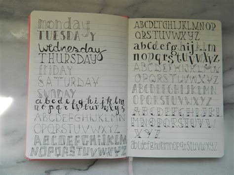 bullet journal alphabet