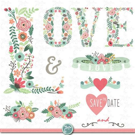 wedding clipart floral love letter clip artvintage flowersfloral banner monograms wreath