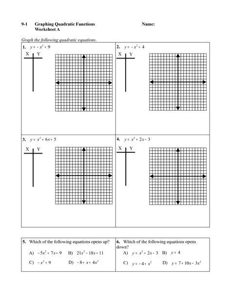 graphing quadratic equations worksheet equations