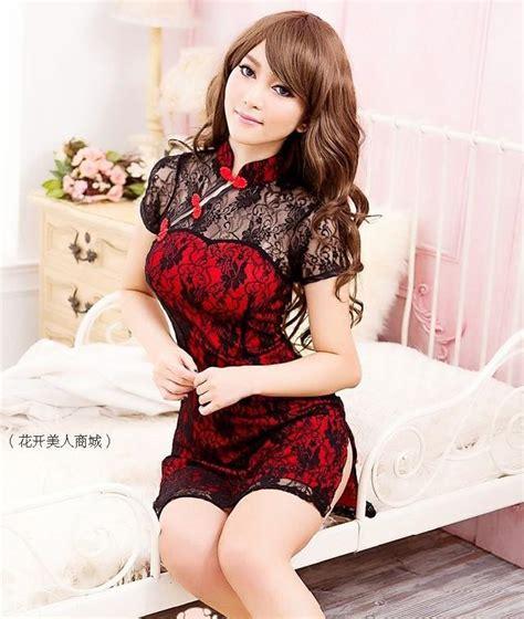 2015 New Retro Style Lace Chinese Dress Sexy Layer Cheongsam Set Bra Princess Short Skirt In