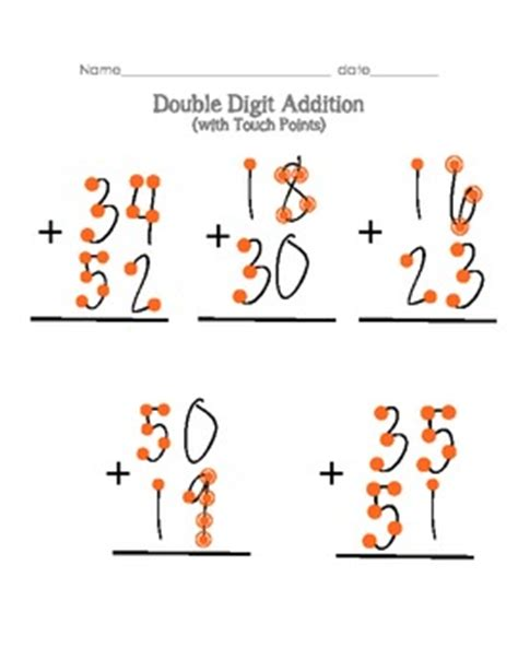 double digit addition  regrouping  touch points