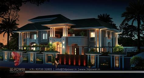 lavish  modern bungalow exterior rendering  elevation