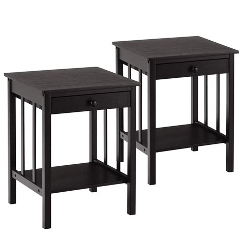 Nightstand Storage by Costway Bamboo Nightstand End Table Drawer Storage Shelf