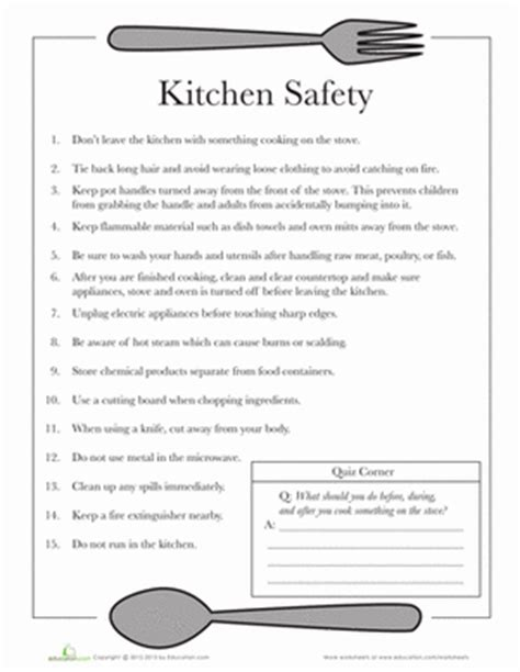 kitchen safety worksheet education