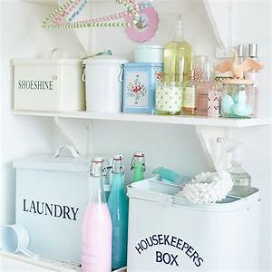 Shabby chic utility room shelving decorating for Laundry room accessories uk