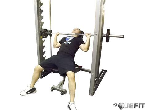 smith machine bench press smith machine incline bench press exercise database