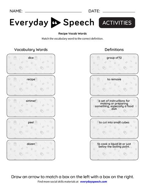 recipe vocab words everyday speech everyday speech