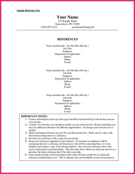 Standard Resume Reference Format by List Of References Template Bio Letter Format