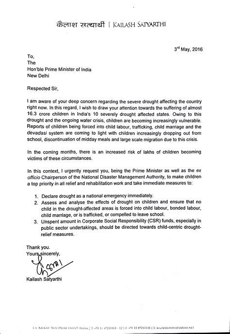 nobel laureate kailash satyarthis writes  pm appeals