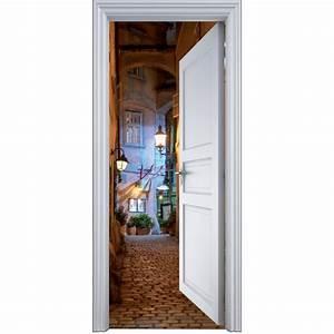 Deco Porte Interieure En Trompe L Oeil : sticker porte trompe l 39 oeil ruelle 90x200cm art d co stickers ~ Carolinahurricanesstore.com Idées de Décoration
