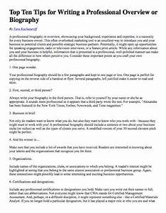 Free Sample Professional Bio Template Top Ten Tips For Writing A Professional Overview Or