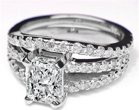 Engagement Ring -radiant Cut Diamond Double Band