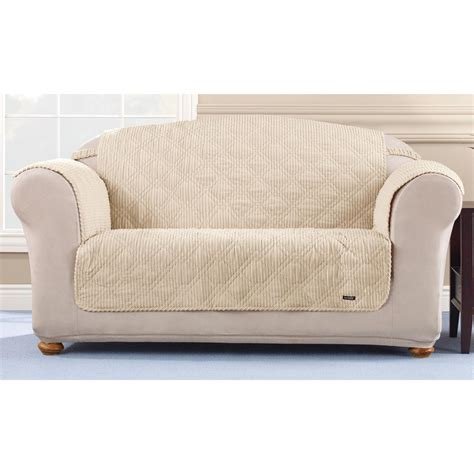 sure fit sofa covers sure fit quilted corduroy loveseat pet cover 292845