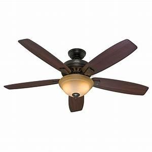 Quot hunter premier bronze ceiling fan toffee glass light