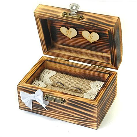 wedding ring holder for ring bearer lovehandmade personalized wedding ring box rustic ring bearer wooden ring holder with hearts