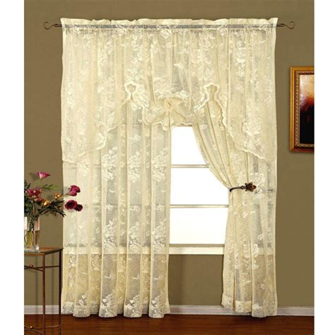 abbey rose ivory floral lace curtain bedbathhomecom